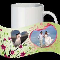 Кружка с рамкой на 2 фото дню влюблённых № а2