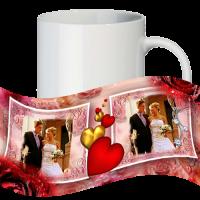 Кружка с рамкой на 2 фото дню влюблённых № a4