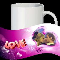 Кружка с рамкой на 1 фото на день влюблённых № a5