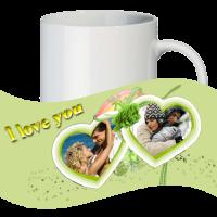 Кружка с рамкой на 2 фото дню влюблённых № a6
